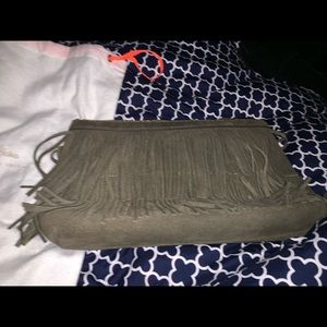 India Hicks olive clutch with fringe